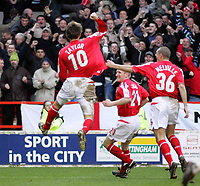 Photo: Paul Thomas. Nottingham Forest v Derby County. Forest Ground, Nottingham. Coca Cola Championship. 26/02/2005. Gareth Taylor scores for Forest.