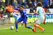 Josh Murphy (11) of Cardiff City looks for a way around Marcos Alonso (3) of Chelsea during the Premier League match between Cardiff City and Chelsea at the Cardiff City Stadium, Cardiff, Wales on 31 March 2019.