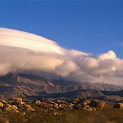 Rare lenticular hides El Capitan peak in Guadalupe Mountains National Park, TX.