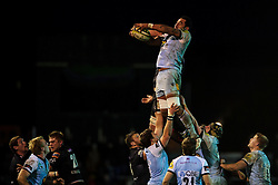 Northampton Lock (#4) Samu Manoa wins a lineout during the second half of the match - Photo mandatory by-line: Rogan Thomson/JMP - Tel: Mobile: 07966 386802 18/11/2012 - SPORT - RUGBY - Rodney Parade - Newport. Newport Gwent Dragons v Northampton Saints - LV= Cup Round 2