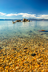 """Pebbles at Whale Beach 4"" - These pebbles were photographed along the shore of Whale Beach on the East shore of Lake Tahoe. Whale Rock can be seen in the distance."