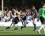 Dundee's Jim McAlister grabs Gary Harkins in imitation of internet meme #rkoouttanowhere (named after wrestler Randy Orton) after the midfielder had scored against Motherwell at Fir Park  - Motherwell v Dundee, SPFL Premiership at Fir Park<br /> <br />  - © David Young - www.davidyoungphoto.co.uk - email: davidyoungphoto@gmail.com