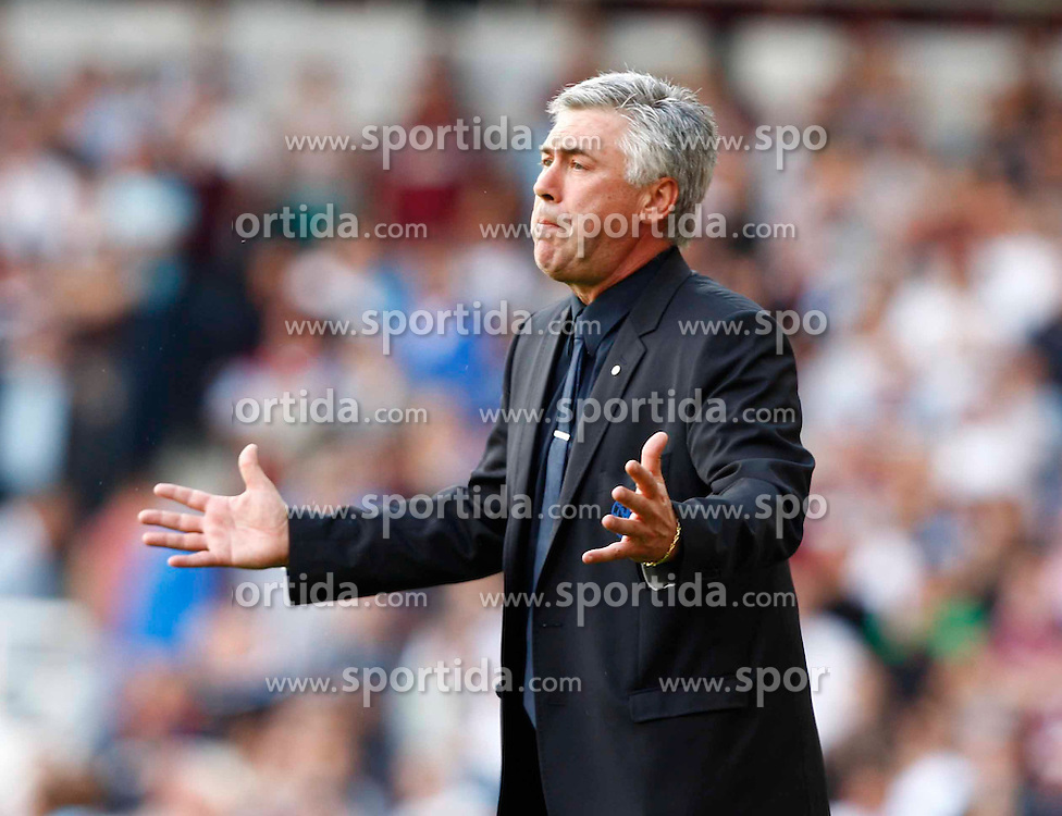11.09.2010, Boleyn Ground Upton Park, London, ENG, PL, West Ham United vs FC Chelsea, im Bild Carlo Ancelotti First Team Coach Barclays Premier League West Ham United v Chelsea.at Boleyn Ground Upton Park. EXPA Pictures © 2010, PhotoCredit: EXPA/ IPS/ Kieran Galvin +++++ ATTENTION - OUT OF ENGLAND/UK +++++ / SPORTIDA PHOTO AGENCY