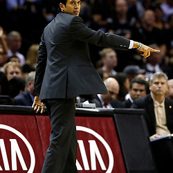 Jun 13, 2013; San Antonio, TX, USA; Miami Heat head coach Erik Spoelstra reacts during the first quarter of game four of the 2013 NBA Finals against the San Antonio Spurs at the AT&T Center. Mandatory Credit: Derick E. Hingle-USA TODAY Sports