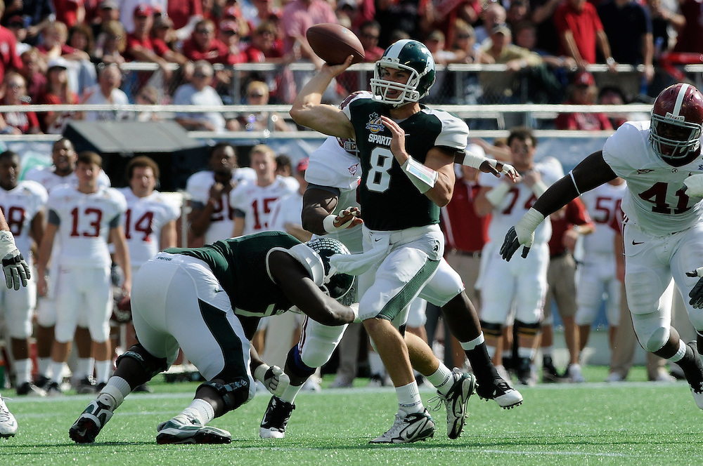 January 1, 2011: Kirk Cousins of the Michigan State Spartans in action during the NCAA football game between MSU and the Alabama Crimson Tide at the 2011 Capital One Bowl in Orlando, Florida. Alabama led Michigan State 28-0 at the half.