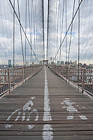 pedestrian and cycling lanes on brooklyn bridge in New York City October 2008