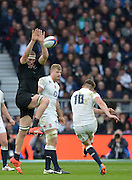 Twickenham, Great Britain,  Brodie RETALLICK, attempts to charge down Danny CARE'S clearance kick  during the QBE Autumn International, England vs New Zealand, RFU Stadium Twickenham, Surrey.  Saturday 08/11/2014 [Mandatory Credit; Peter SPURRIER/Intersport Images]