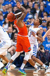 Kentucky guard Tyler Ulis, right, strips the ball from Florida guard Kasey Hill in the first half.<br /> <br /> The University of Kentucky hosted the University of Florida, Saturday, Feb. 06, 2016 at Rupp Arena in Lexington .