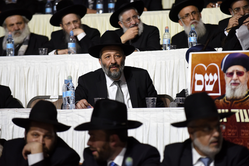 Ariye Deri, leader of Shas Party, is is seen at the party's rally in  Tel Aviv, March 3, 2015. Some 10,000 supporters of the Ultra-Orthodox Shas Party gathered on the Nokia Stadium in Tel Aviv for the party's election campaign largest rally. Photo by Gili Yaari