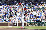 August 17, 2017 - Chicago, IL, USA - Cincinnati Reds relief pitcher Raisel Iglesias celebrates after the final out in a 13-10 win against the Chicago Cubs at Wrigley Field in Chicago on Thursday, Aug. 17, 2017. (Credit Image: © Armando L. Sanchez/TNS via ZUMA Wire)