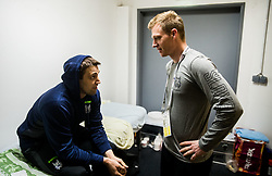 Ziga Pance with physiotherapist Jure Ferjanic in Dressing room of Team Slovenia at the 2017 IIHF Men's World Championship, on May 11, 2017 in AccorHotels Arena in Paris, France. Photo by Vid Ponikvar / Sportida