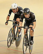 New Zealand's Pieter Bulling, left, and Dylan Kennett at the UCI Tier 1 Festival of Speed, SIT Zero Fees Velodrome, Invercargill, New Zealand, Saturday, November 16, 2013. Credit:NINZ/Dianne Manson