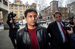 "© Licensed to London News Pictures. File pic dated 23/03/2016. London, UK.""Flash crash"" Trader NAVINDER SINGH SARAO arrives at Westminster Magistrates court in London. Sarao, nicknamed the Hound of Hounslow, pleaded guilty to fraud and illegally manipulating the market at a court in the USA. Photo credit: Ben Cawthra/LNP"