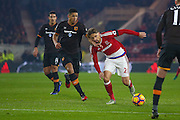 Hull City defender Curtis Davies (6) can't catch Middlesbrough midfielder Gaston Ramirez (21)  during the Premier League match between Middlesbrough and Hull City at the Riverside Stadium, Middlesbrough, England on 5 December 2016. Photo by Simon Davies.