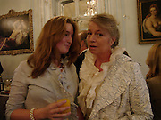 Lady Clementine Wallop and Candia McWilliam, Flora Fraser launch party for her book ' Princesses the Daughters of George 111' the Savile club, Brook St. 14 September 2004. SUPPLIED FOR ONE-TIME USE ONLY-DO NOT ARCHIVE. © Copyright Photograph by Dafydd Jones 66 Stockwell Park Rd. London SW9 0DA Tel 020 7733 0108 www.dafjones.com