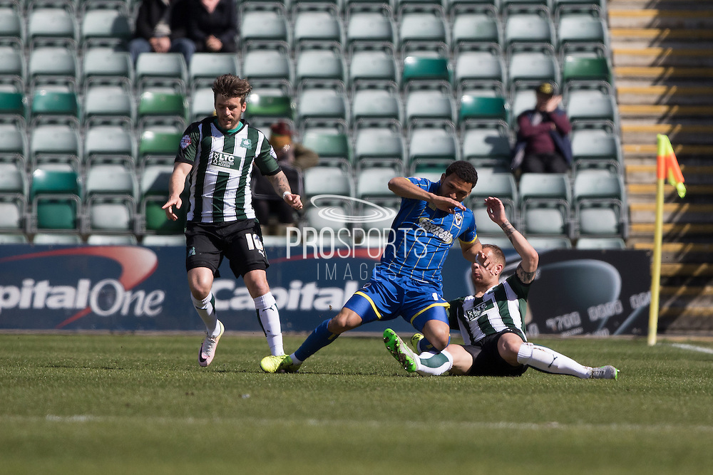Andy Barcham midfielder for AFC Wimbledon (17) during the Sky Bet League 2 match between Plymouth Argyle and AFC Wimbledon at Home Park, Plymouth, England on 9 April 2016. Photo by Stuart Butcher.