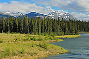 Takhini River and Valley with Coast Mountains in the background<br /> Alaska Highway<br /> Yukon<br /> Canada