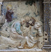 Sculptural detail of the apostles sleeping while Jesus prays in the Garden of Olives, from the Paixao de Cristo or Passion of Christ, 1530-40, by Joao de Ruao, 1480-1580, on the predella of the altarpiece in the Mosteiro de Celas, in the Museu Nacional de Machado de Castro, Coimbra, Portugal. The museum was opened in 1913 and renovated 2004-2012. The city of Coimbra dates back to Roman times and was the capital of Portugal from 1131 to 1255. Its historic buildings are listed as a UNESCO World Heritage Site. Picture by Manuel Cohen