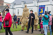UNITED KINGDOM, Whittlesey: Straw Bear Festival. A Straw Bear, supposedly a mischievous character made of straw, is paraded through the town of Whittlesey at the Straw Bear festival this weekend.  The three day festival, which originated in 1882, consists of traditional Molly, Morris, Clog and Sword dancing as well as parading a large straw character known as 'The Bear' through the town. Rick Findler  / Story Picture Agency