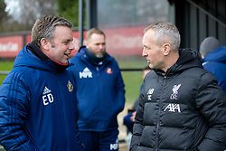 LIVERPOOL, ENGLAND - Monday, February 24, 2020: Liverpool's manager Neil Critchley (R) and Sunderland's head coach Elliott Dickman before the Premier League Cup Group F match between Liverpool FC Under-23's and AFC Sunderland Under-23's at the Liverpool Academy. (Pic by David Rawcliffe/Propaganda)
