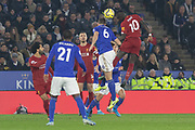 Sadio Mane (10)  gets a head in front of Jonny Evans (6)during the Premier League match between Leicester City and Liverpool at the King Power Stadium, Leicester, England on 26 December 2019.