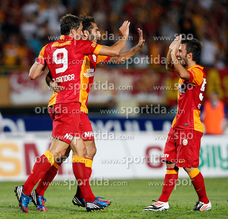 04.08.2012, Ataturk Stadium, Izmir, TUR, Testspiel, Galatasaray Istanbul vs Lazio, im Bild Johan Elmander and Hamit Altintop and Emre Colak of Galatasaray.  during Friendly Match between Galatasaray Istanbul and Lazio at the Ataturk Stadium, Izmir, Turkey on 2012/08/04. EXPA Pictures © 2012, PhotoCredit: EXPA/ Seskimphoto/ Sphk/ ****** ATTENTION - for AUT, ESP, ITA, SWE, SLO, NOR, FIN, SRB NED and USA ONLY! *****