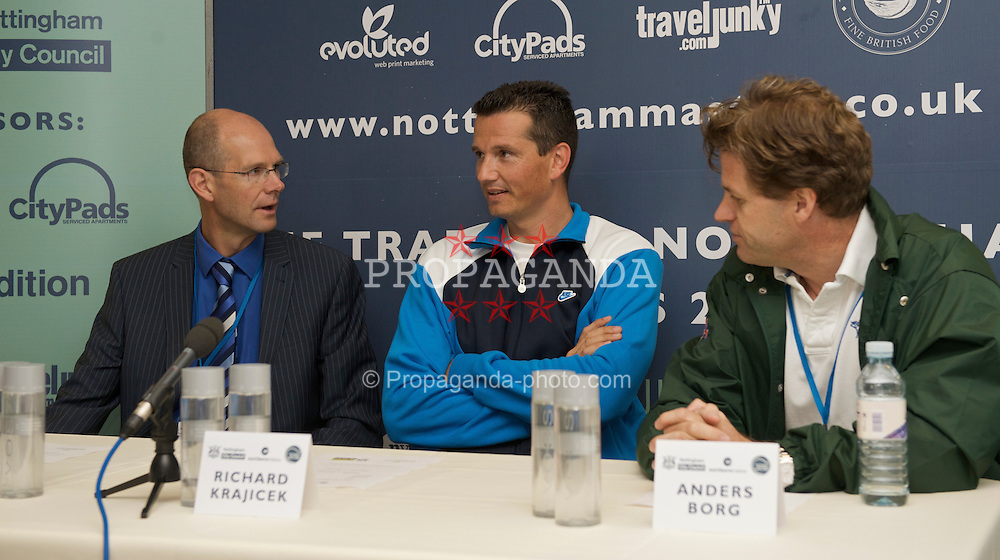 NOTTINGHAM, ENGLAND - Thursday, June 11, 2009: Hugh White of Nottingham City Council, Richard Krajicek (NED) and Tournament Director Anders Borg attend a press conference on day one of the Tradition Nottingham Masters tennis event at the Nottingham Tennis Centre. (Pic by David Rawcliffe/Propaganda)