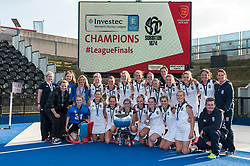 Surbiton and trophy. Holcombe v Surbiton - Investec Women's Hockey League Final, Lee Valley Hockey & Tennis Centre, London, UK on 23 April 2017. Photo: Simon Parker