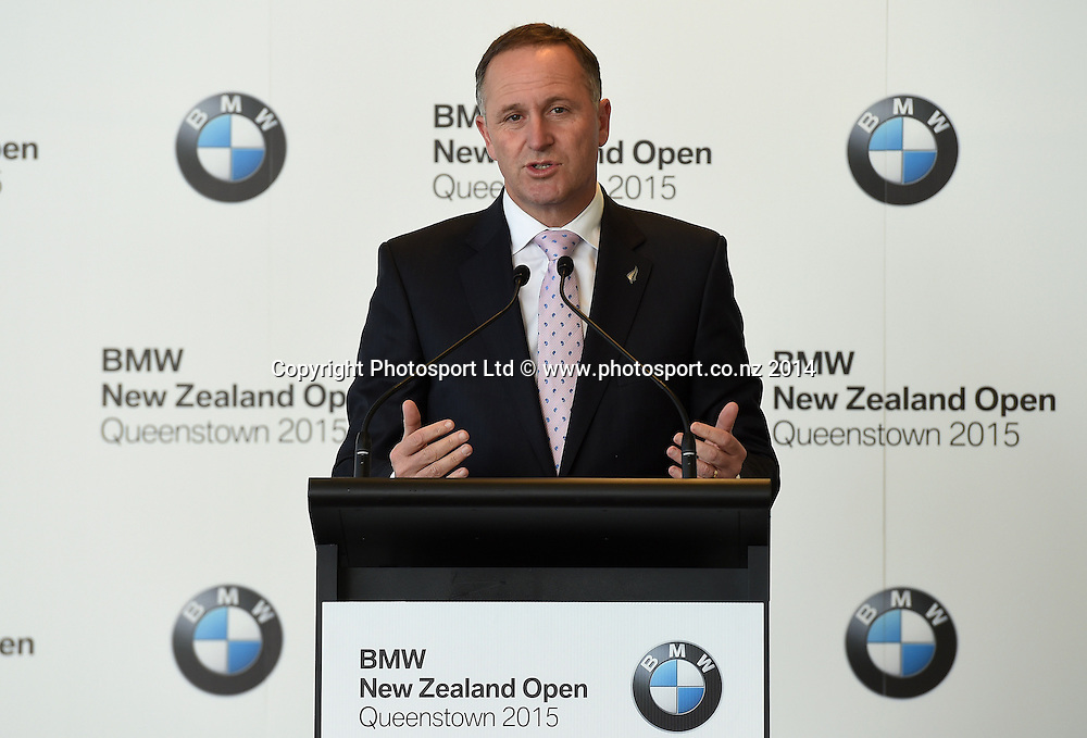 Prime Minister John Key, BMW Golf Open 2015 Announcement, The Cloud, Auckland on Tuesday 7 October 2014. Photo: Andrew Cornaga / Photosport.co.nz