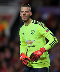 MANCHESTER, ENGLAND - Wednesday, September 30, 2015: Manchester United's goalkeeper David de Gea in action against VfL Wolfsburg during the UEFA Champions League Group B match at Old Trafford. (Pic by David Rawcliffe/Propaganda)