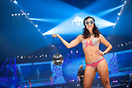 A female model poses on the catwalk in Copenhagen during the Intimate Britney Spears Lingerie Fashion Show