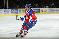 KELOWNA, CANADA, FEBRUARY 15: Dylan Wruck #11 of the Edmonton Oil Kings skates on the ice at the Kelowna Rockets on February 15, 2012 at Prospera Place in Kelowna, British Columbia, Canada (Photo by Marissa Baecker/Shoot the Breeze) *** Local Caption ***