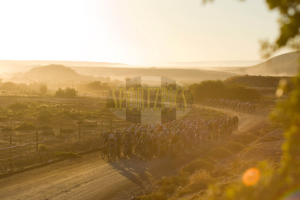 WESTERN CAPE, SOUTH AFRICA -  31 March 2008, leaving Calitzdorp in the morning during stage three of the 2008 Absa Cape Epic Mountain Bike stage race from Calitzdorp Spa.to Langenhoven High School in Riversdale, Western Cape, South Africa..Photo by Sven Martin/SPORTZPICS