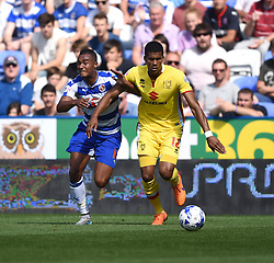 Jordan Obita of Reading battles with Jordan Spence of Milton Keynes Dons - Mandatory by-line: Paul Knight/JMP - Mobile: 07966 386802 - 22/08/2015 -  FOOTBALL - Madejski Stadium - Reading, England -  Reading v MK Dons - Sky Bet Championship