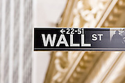 Wall Street sign in New York City, NY, USA