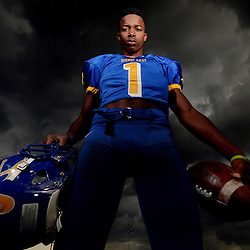 Bishop Amat football player Tyler Vaughns named player of the year at Bishop Amat High School in La Puente, Calif., Wednesday, Dec. 17, 2014.
