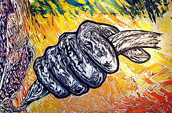 """USA, Illinois, Chicago, June 13, 2009. Never less than original, Mexican painter Hector Duarte's pointedly beautiful """"Murallas sobre lienzo"""" at the National Museum of Mexican Art in Chicago is a classical lesson in muralist traditions, blending art, current events and politics in a dream-like commentary on borders and the influence and importance of immigrants."""