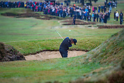 Tommy Fleetwood of England hits out of a bunker during the British Masters 2018 at Walton Heath Golf Course, Walton On the Hill, Surrey on 14 October 2018. Picture by Martin Cole.