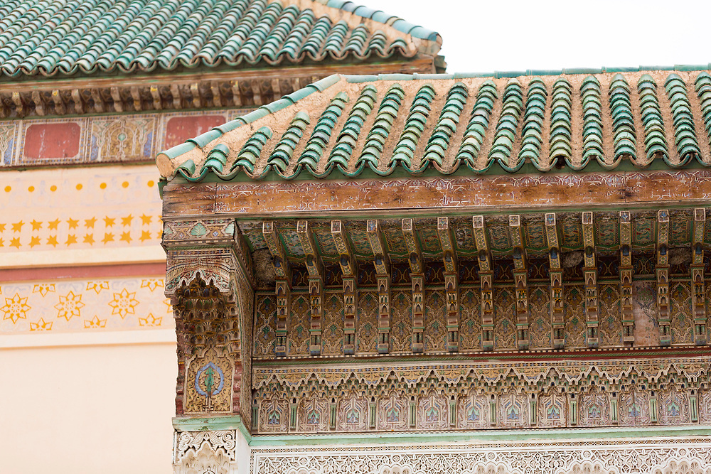 MARRAKESH, MOROCCO - 19TH APRIL 2016 - Roof exterior of the Zaouia / zawiya burial tomb shrine site of Sidi Bel Abbas (Abu al-Abbas) al-Sabti, Marrakesh, Morocco.