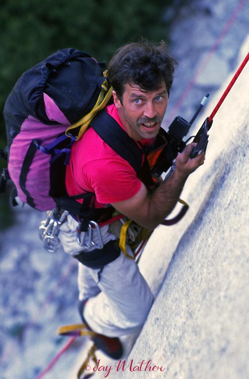 Mike Corbett beginning the climb on El Capitan with Mark Wellman, July 1989