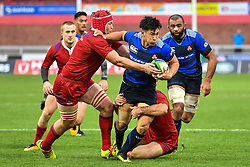 Ryoto Nakamura of Japan evades the tackle of Nikita Vavilin of Russia <br /> <br /> Photographer Craig Thomas<br /> <br /> Japan v Russia<br /> <br /> World Copyright ©  2018 Replay images. All rights reserved. 15 Foundry Road, Risca, Newport, NP11 6AL - Tel: +44 (0) 7557115724 - craig@replayimages.co.uk - www.replayimages.co.uk