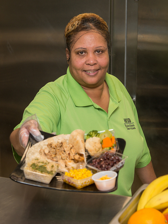 Cafeteria workers display food at Wheatley High School, January 29, 2015.