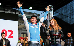 Rok Marguc and Anja Hlaca Florjancic during reception of Slovenian Winter athletes after the end of season 2015/16, on March 22, 2016 in Kongresni trg, Ljubljana, Slovenia. Photo by Matic Klansek Velej / Sportida