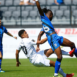 Dover's Jamie Allen and Gillingham's Gabriel Zakuani clash in the Gillingham area during the pre-season friendly match between Dover Athletic and Gillingham FC at Crabble Stadium, Kent on 21 July 2018. Photo by Matt Bristow.