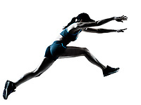 one caucasian woman runner jogger jumping in silhouette studio isolated on white background
