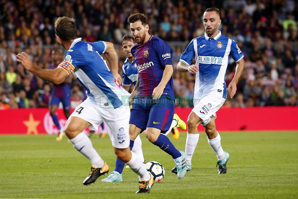 September 9, 2017 - Barcelona, Catalonia, Spain - Leo Messi and Sergi Darder during La Liga match between F.C. Barcelona v RCD Espanyol, in Barcelona, on September 09, 2017. (Credit Image: © Joan Valls/NurPhoto via ZUMA Press)