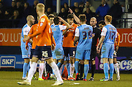 Jake Hyde of York City (39) is sent off during the Sky Bet League 2 match at Kenilworth Road, Luton<br /> Picture by David Horn/Focus Images Ltd +44 7545 970036<br /> 10/02/2015