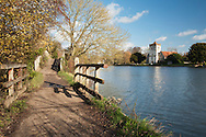 All Saints Church at Bisham near Marlow, Buckinghamshire from the Thames Path, Uk