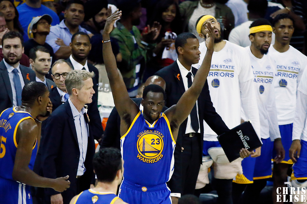 09 June 2017: Golden State Warriors forward Draymond Green (23) reacts during the Cleveland Cavaliers 137-11 victory over the Golden State Warriors, in game 4 of the 2017 NBA Finals, at  the Quicken Loans Arena, Cleveland, Ohio, USA.