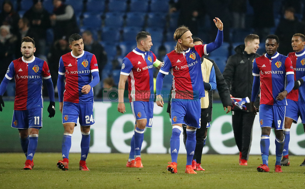 Basel's Michael Lang (2R) reacts with teammates after their  UEFA Champions League group A match between Basel and Manchester United in Basel, Switzerland, November 22, 2017. Basel won 1-0. (Credit Image: © Ruben Sprich/Xinhua via ZUMA Wire)